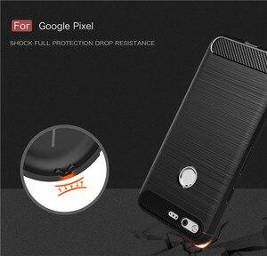 "Image 4 - עבור Google פיקסל 5.0 ""מקרה מוברש שריון עמיד הלם קייס TPU רך עבור Google פיקסל XL 5.5"" סיבי פחמן Coque"