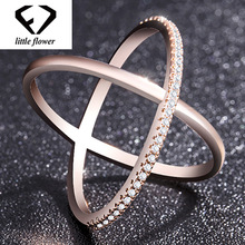 X-Letter Cross Diamond Rings Woman 14K Rose Gold and Wedding Anillos De Bizuteria Bague or Jaune Jewelry Gemstones