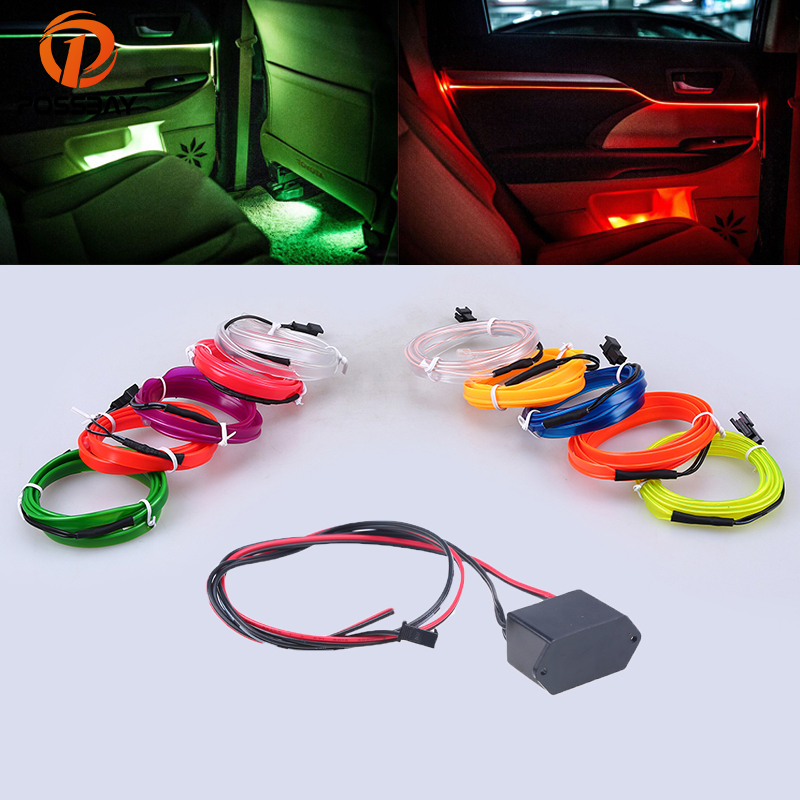 POSSBAY 4m Car Neon Light LED Decorative Atmosphere Cold Light Lamp Strip With Transformer White/Ice Blue/Red/Orange/Purple high quality 4pcs 3 led universal car accessory glow interior decorative atmosphere light purple orange lamp