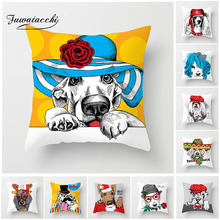 Fuwatacchi Lovely Pet Dog Cushion Cover Cartoon Animal Printed Pillow Cover For New Home Sofa Decorative 45X45CM Pillowcases цены