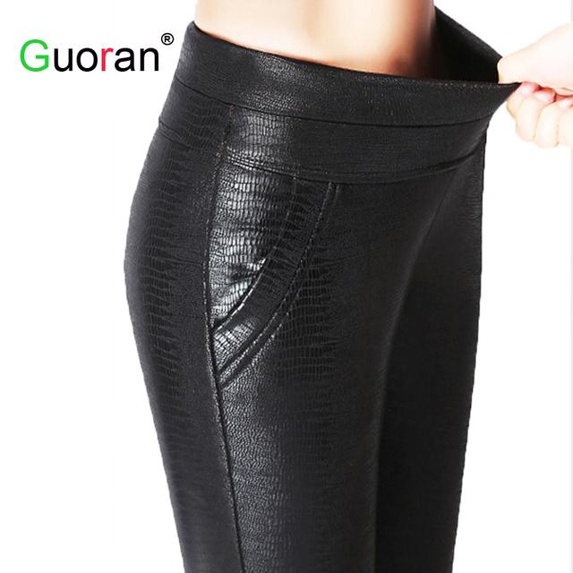 {Guoran} Padrão de crocodilo Preta de Cintura Alta de Couro Das Mulheres Plus Size Calças Stretch Leggings De Couro PU Quente Velo Femme Pantalon