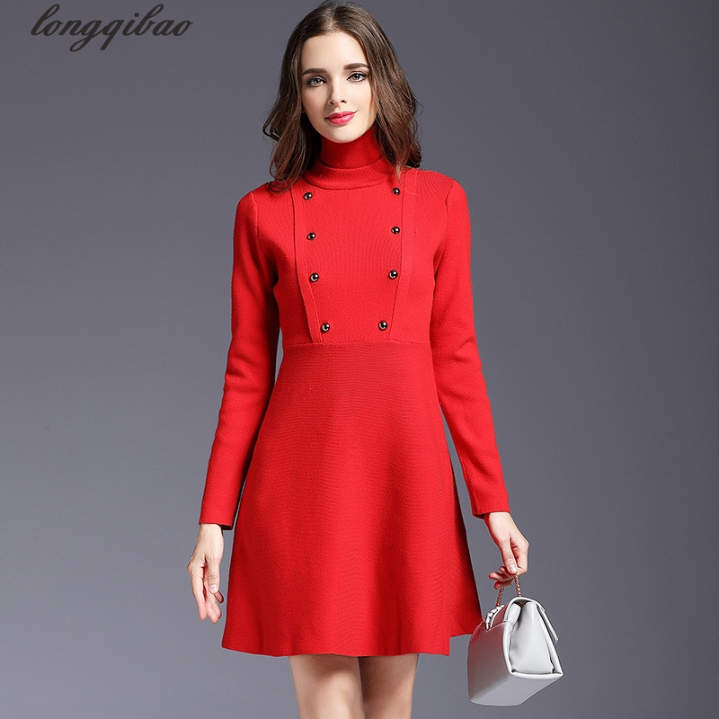 Autumn and winter new women 's high - necked sweater long - sleeved A word Slim knitted dress AL7536