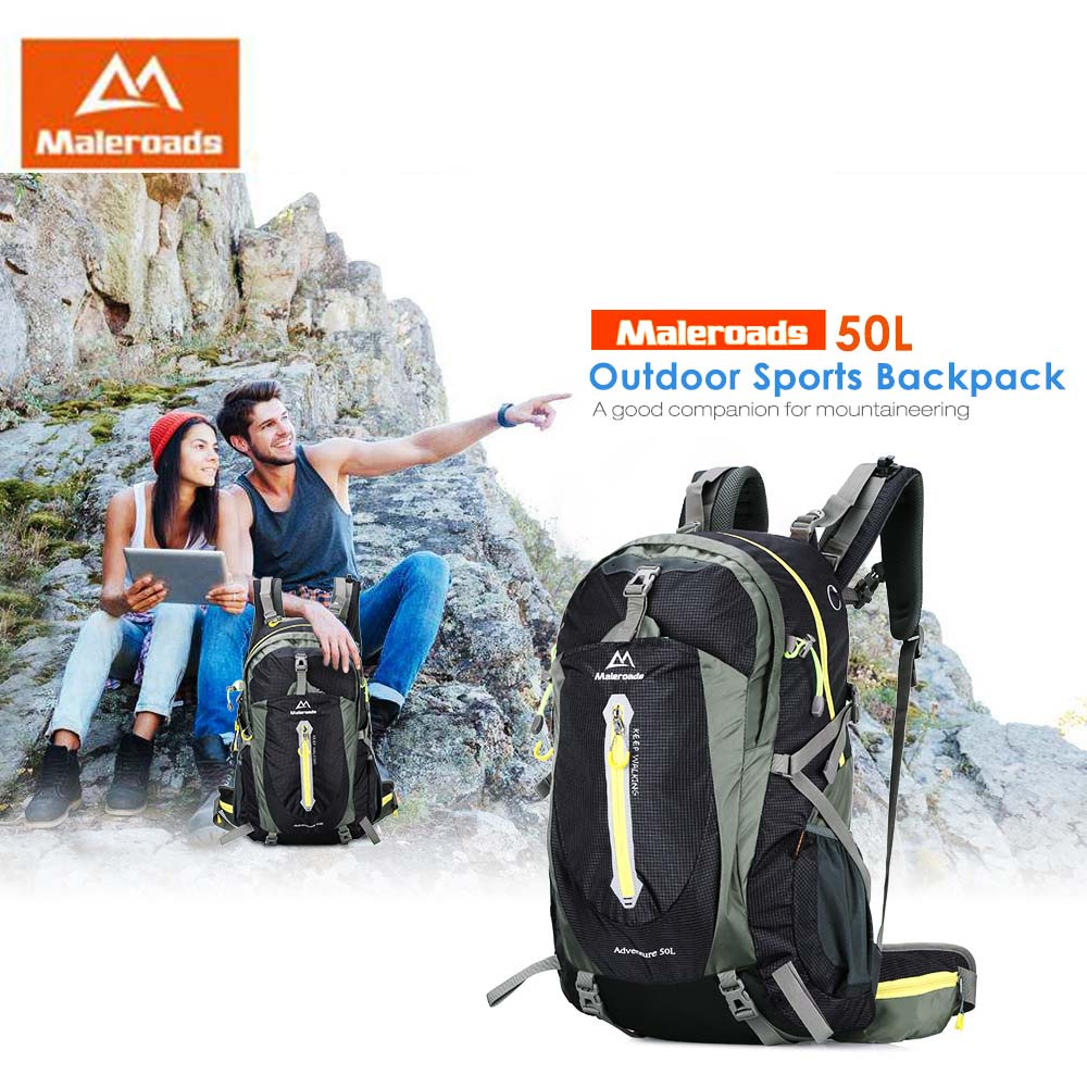 Maleroads 50L Waterproof Nylon Unisex Outdoor Sports Backpack Hiking Camping Bike Rucksack Bag Outdoor Backpack кастрюля rondell creative rds 387 3 1л 20см стеклянная крышка нержавеющая сталь серебристый