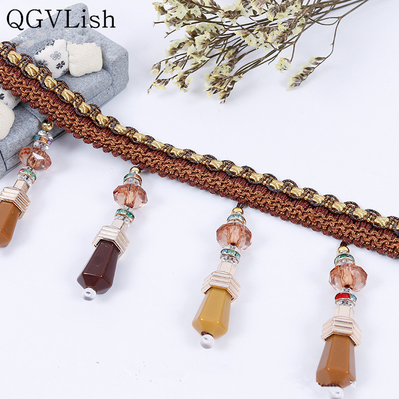 Home Decor Home & Garden Qgvlish 12m/lot Crystal Beads Curtain Tassel Lace Trims Diy Sewing Sofa Stage Lamp Fringe Curtain Accessories Lace Ribbon Decor Do You Want To Buy Some Chinese Native Produce?