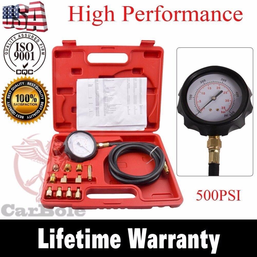 High Performance 12 Pieces Automatic Transmission Engine Oil Pressure Tester Gauge TU-11A Diagnostic Test Kit 0-500psi
