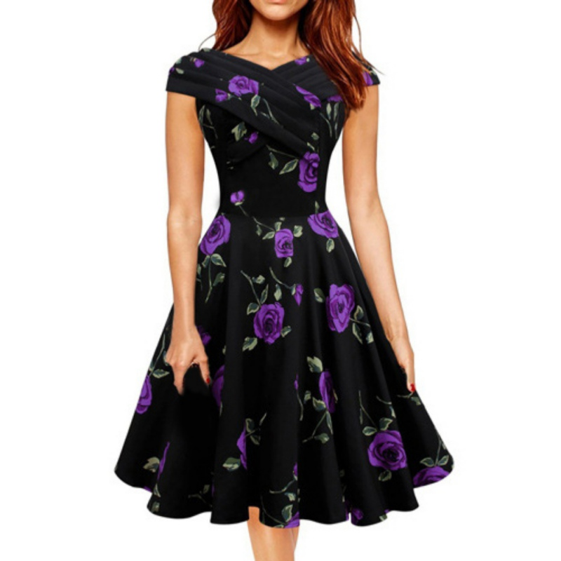 2018 Women Summer Clothing Retro Print Flowers High Waist Dresses Large Swing Midi Dress Casual Office Ladies Party Vestidos Y5