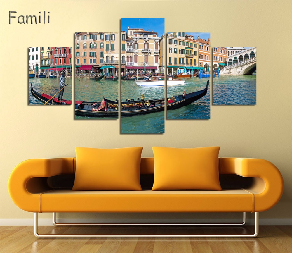 Modern Canvas Painting 5 Pieces Wall Art Italy Venice Landscape Oil ...