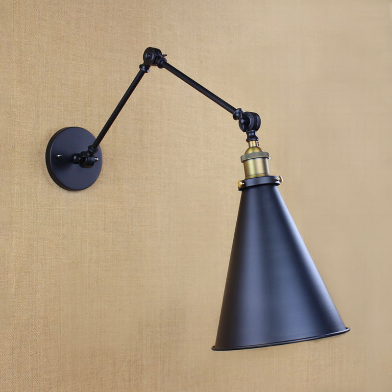 classical design antique black retro adjust head swing arm wall lamps lights sconce for bedside bedroom wall Lights