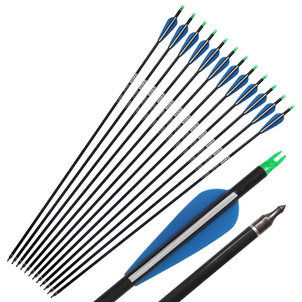 цена на 12Pcs Carbon Arrows 340 Spine Archery Hunter Nocks Fletched Specially for Compound Bow Hunting