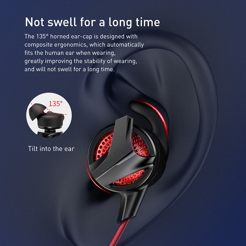 Baseus In-Ear Earphone 3.5mm Jack Type C Wired Headset for PUBG Gamer Gaming Headphones Hi-Fi Earbuds With Microphone Detachable