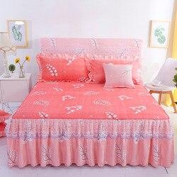 Romântico saia de cama antiderrapante lençol capa colcha chiffon folha de cama para decoração de casamento capa de cama com faixa elástica