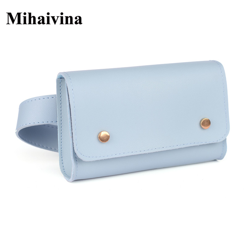 Mihaivina Fashion Women Waist Bag PU Leather Waist Pack For Female Girl Travel Belt Bag Pack Newest Fanny Bags Chest Handbag