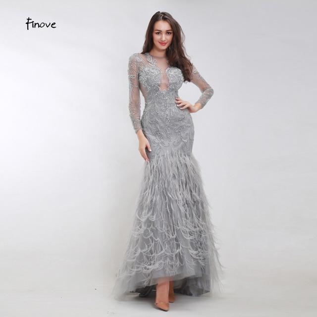 16f7bec3a2050 Finove Beading Mermaid Evening Dresses 2019 New Arrivals Sexy Tulle Elegant  Feathers Long Sleeves Fashionable Dresses for Women