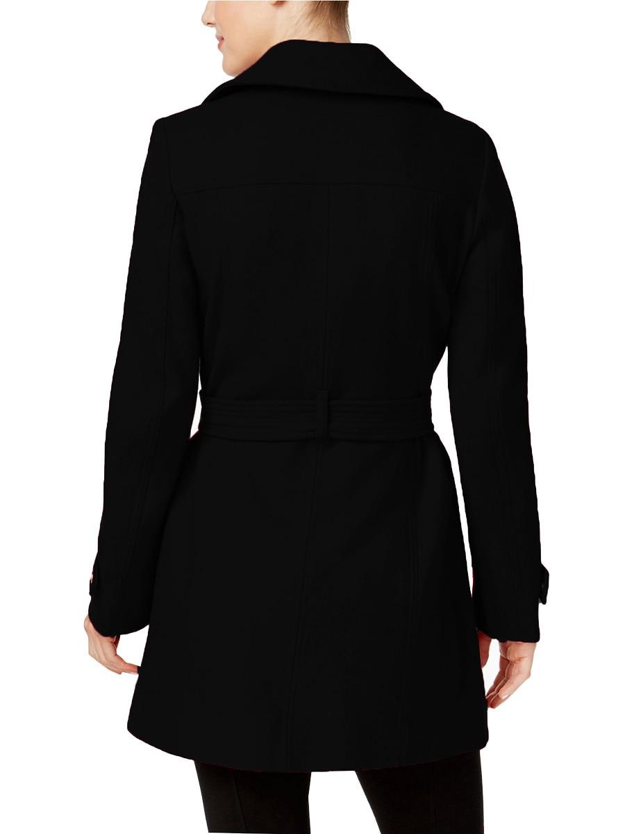 Manteau Lady Ceinture Automne D'hiver Office Manches Veste Vêtements Et À bourgogne 2017 Poche Laine Nouveau Femmes Noir Revers Longues De Avec YOx5qgw