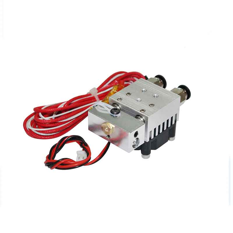 3D Printer Hot End 2 In 1 Out Double Color Extruder Cyclops Single Head 12V/24V 0.4mm 1.75mm with Cooling Fan 3D Printer parts hot 3d printer v6 cyclops dual head kit 2 in 1 out tl feeder bowden splitter multi feeder system with with titan extruder