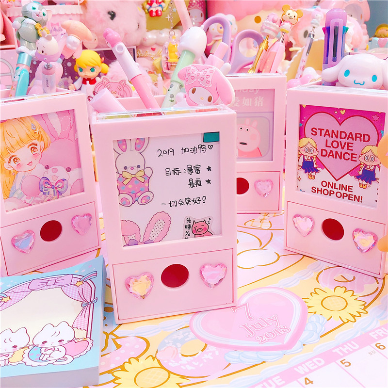 Pink Lovely Multifunction Photo Frame Pen Holder+Storage Drawer Box Girls Doll Collection Cases