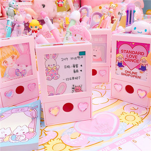Pink lovely Multifunction Photo frame pen holder+Storage drawer box girls doll collection cases(China)