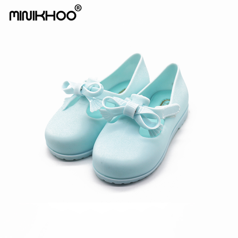 Mini Melissa Original 4 Color Bow 2018 New Girl Jelly Sandals Children Shoes Non-slip Princess Shoes Melissa Sandals 13.9-16.9cm