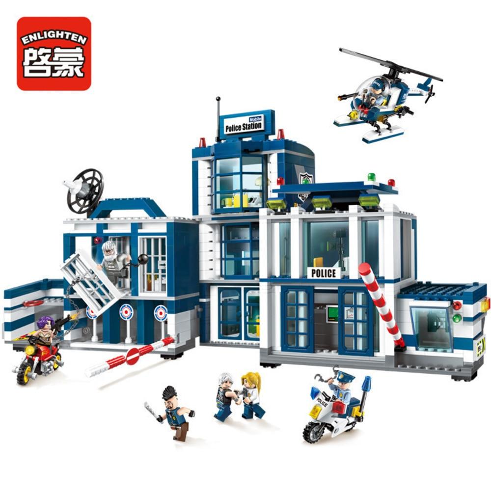 Enlighten 951Pcs City Series Mobile Police Station Helicopter Model Playmobil Building Blocks Bricks Toys For Children