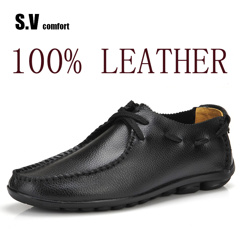 ФОТО 2017 New Genuine Leather Casual Shoes Good Sapatos Business Shoes Oxford Flats Hand Made Man Shoes Free Shipping SV Comfort