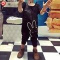 2016 Verano/Primavera de Los Bebés Conejo Mamelucos Infantiles Mono de Las Muchachas Negro de Manga Corta Recién Nacido Bebes Onesie pijamas Bebé Ropa