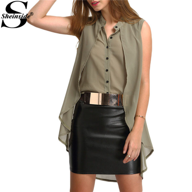 Sheinside Women Collarless Chiffon Layered High Low Blouse Shirt Sleeveless With Buttons Summer Style Blouses Ladies Top Blouse