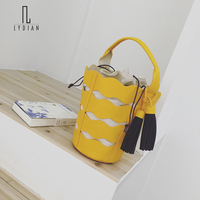 LYDIAN 2018 New Summer Hollow Out Bucket Bag String Canvas Inner Composite Bags Green Handbags Fashion
