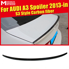For Audi A3 A3Q Rear Spoiler Tail S3-Style Carbon Fiber rear spoiler Rear trunk Lid Boot Lip wing car styling Decoration 2013-in a3 rear trunk spoiler wing lip small aev style carbon fiber for a3 a3q auto air rear trunk spoiler tail wing car styling 2013 in
