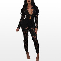 Fall New Arrive High Quality 2017 Hollow Lace Two Piece Set Women White Black Sexy Deep