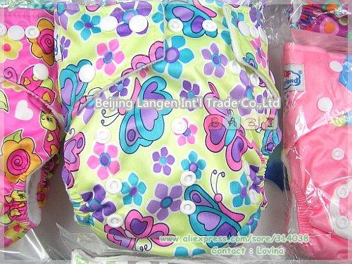Free Shipping Printed Babyland Baby Cloth Diaper 5pcs+5pcs Bamboo Charcoal Inserts=10PIECES