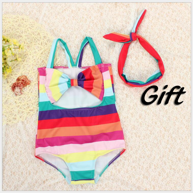 Toddler Girl Colorful Stripes Bow Knot One Piece Swimsuit