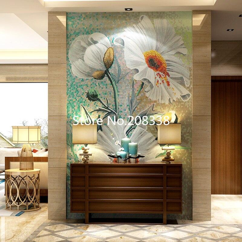 Стеклянная мозаичная роспись для декора стен мозаика из стекла Rosa laevigata Цветочные художественные плитки