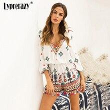 Lyprerazy Summer Sexy Women Floral Print Ethnic Playsuit Beach Wear
