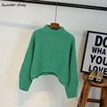 НОВЫЕ горячие продажи женская осень зима с длинным рукавом стенд воротник короткий стиль вязать свитера женщина нерегулярные случайные пуловеры 4 цвета