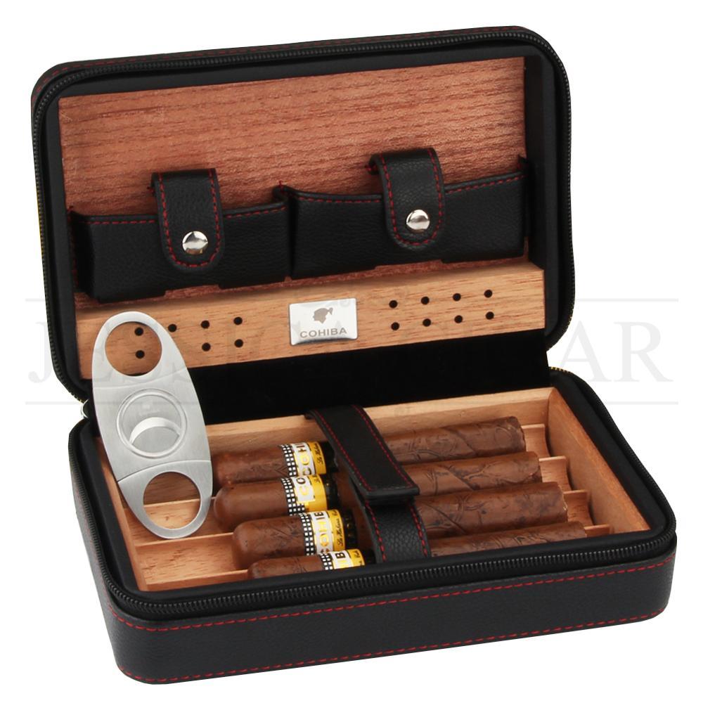 COHIBA Gadgets Leather Travel Cigar Case Portable Humidor Box Cedar Wood Cigar Humidor Fit 4 Cuba