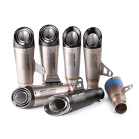 38 60 5mm Universal Motorcycle Exhaust Muffler Tip Pipe Silp On Modified 310mm Stainless Steel Silencer