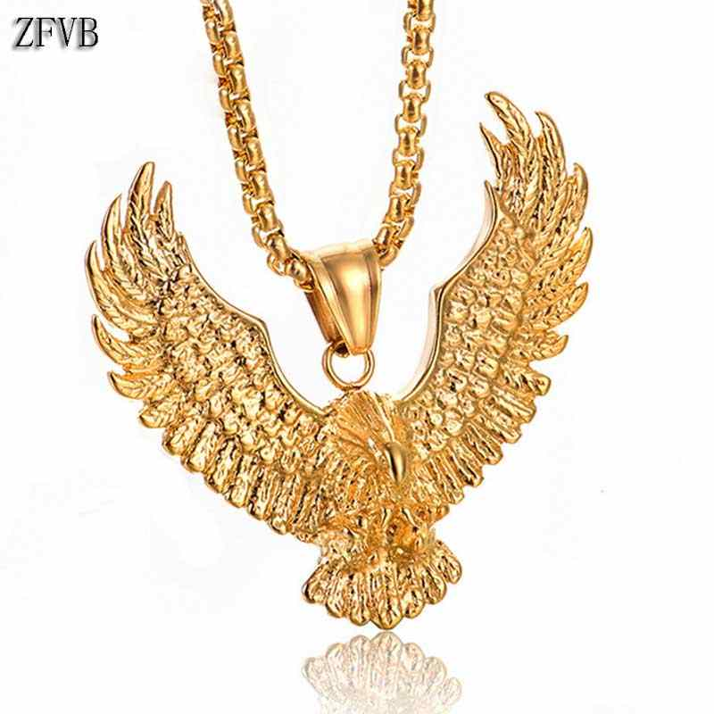 ZFVB Vintage Animal Eagle Pendant Necklaces for Mens Statement Jewelry Stainless Steel Gold color Eagle Necklace Charm Bijoux