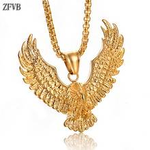 ZFVB Vintage Animal Eagle Pendant Necklaces for Mens Statement Jewelry Stainless Steel Gold color Necklace Charm Bijoux