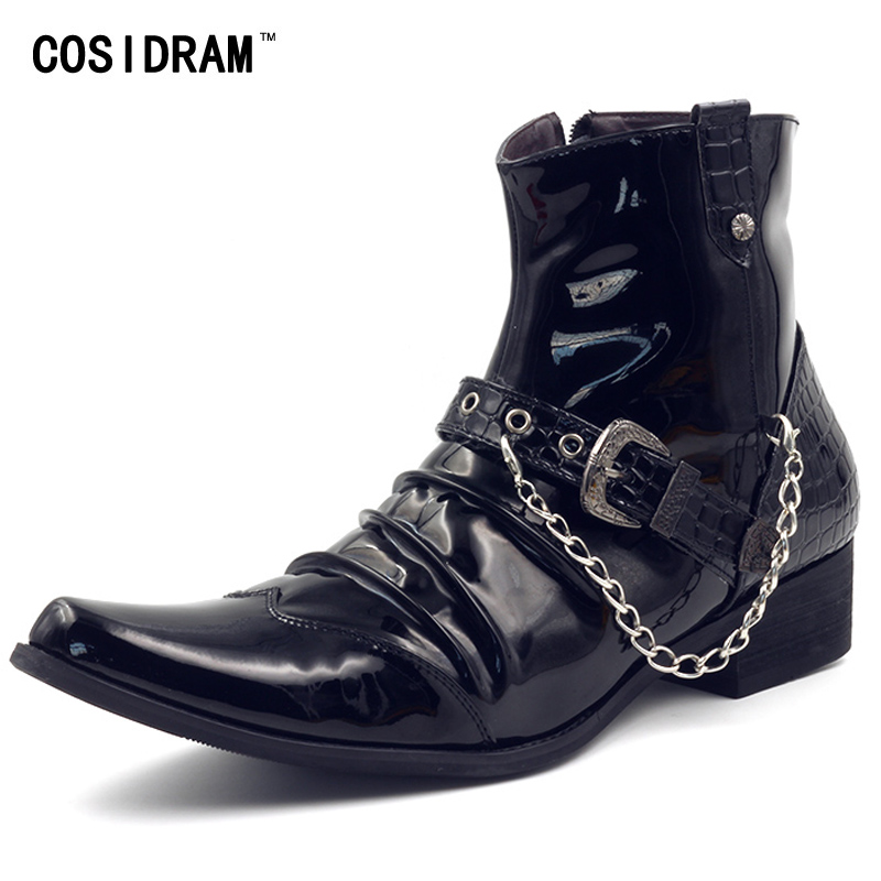 COSIDRAM Pointed Toe Patent Leather Men Boots Chain Fashion Botas Hombre High Top Winter Shoes Ankle Motorcycle Boots RMC-108 2016 autumn and winter fashion high top shoes male pointed toe leather casual shoes men s ankle boots