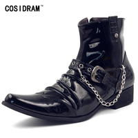 COSIDRAM Pointed Toe Patent Leather Men Boots Chain Fashion Botas Hombre High Top Winter Shoes Ankle