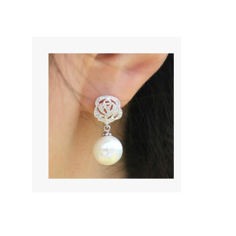 Grace Jun TM New Arrival Rose Shape Clip on Earrings Without Piercing for Women Luxury Jewelry