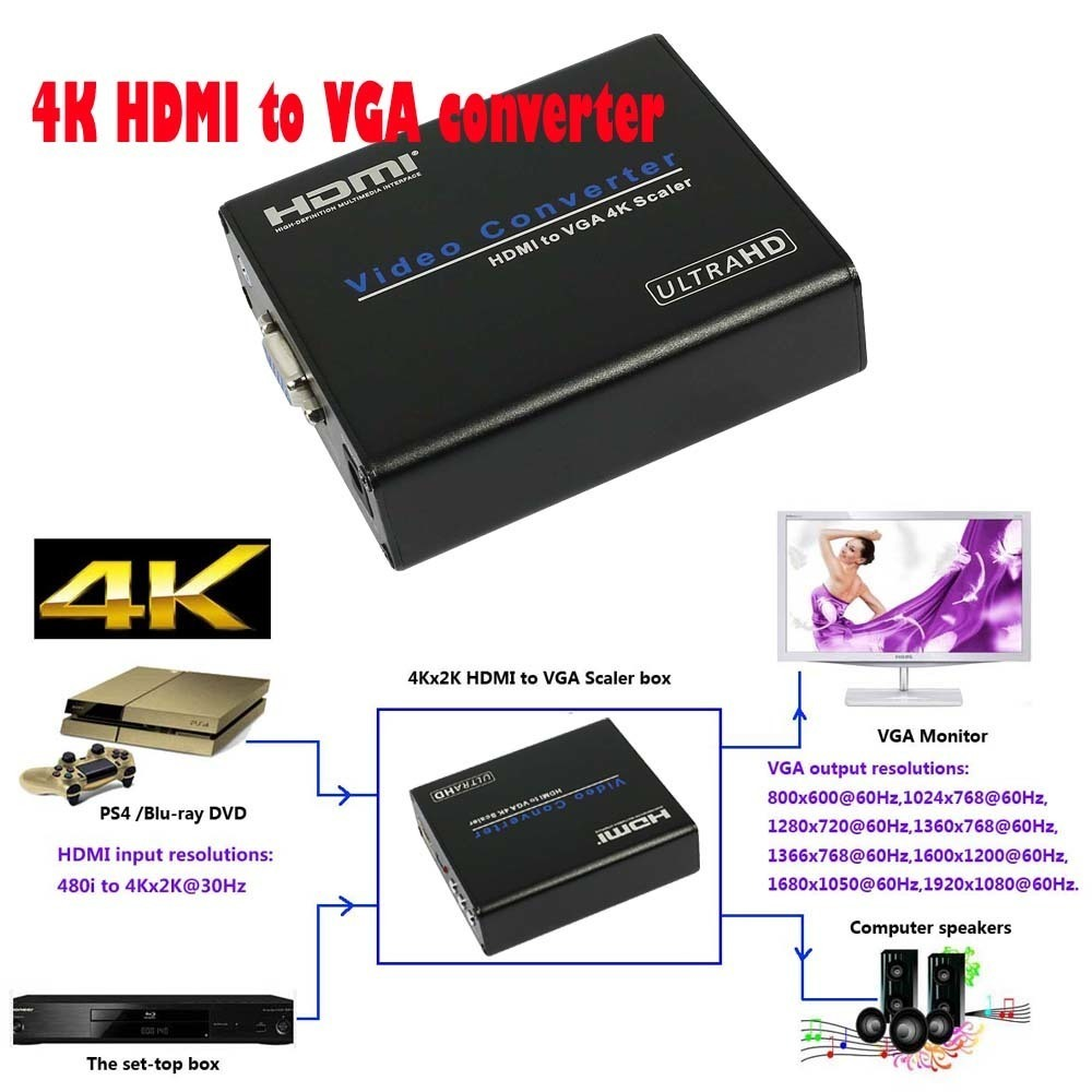 Digital to Analog 4K HDMI to VGA Scaler Converter HDCP Audio Extractor To 3 5mm Stereo
