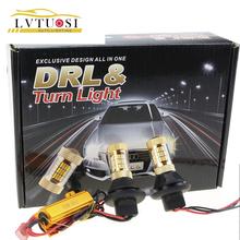 LVTUSI 1 Set Turn Signal Lights S29 1156 BAU15S BAY15S DRL LED Lights White Yellow Lamps 12V Bulbs For All Car CB