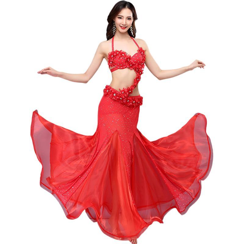 Sexy danse du ventre ensemble soutien-gorge + jupe 2019 nouveau Style Festival danse Performance Costume danse indienne perlé broderie
