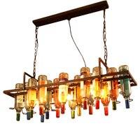 Vintage Rust Color Metal Wine Bottle DIY Chandelier E27 LED Cafe Loft Bar Iron Droplight Store Cafe Bar Lighting Fixture
