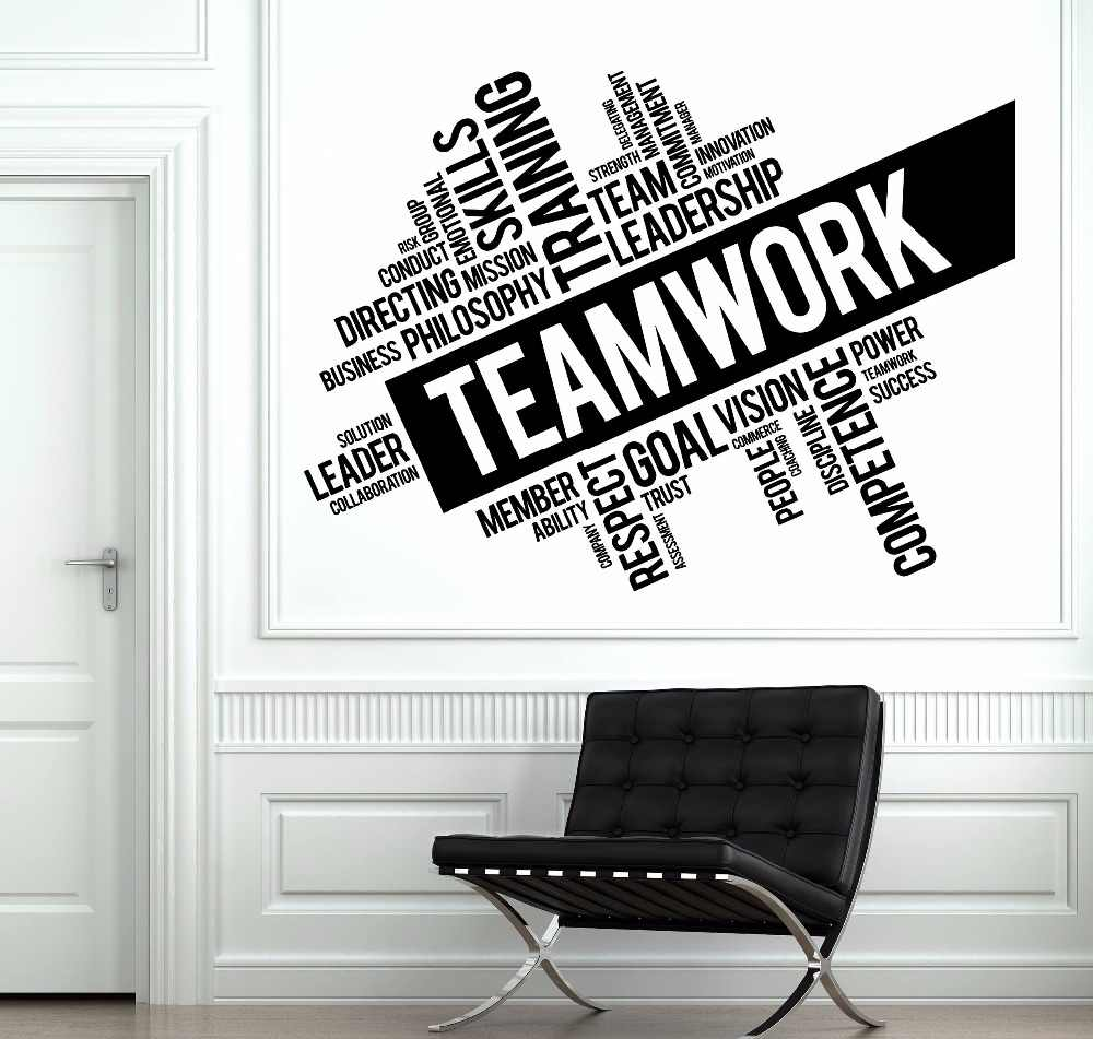teamwork words wall sticker office space team inspirational quote wall decal vinyl teamworks