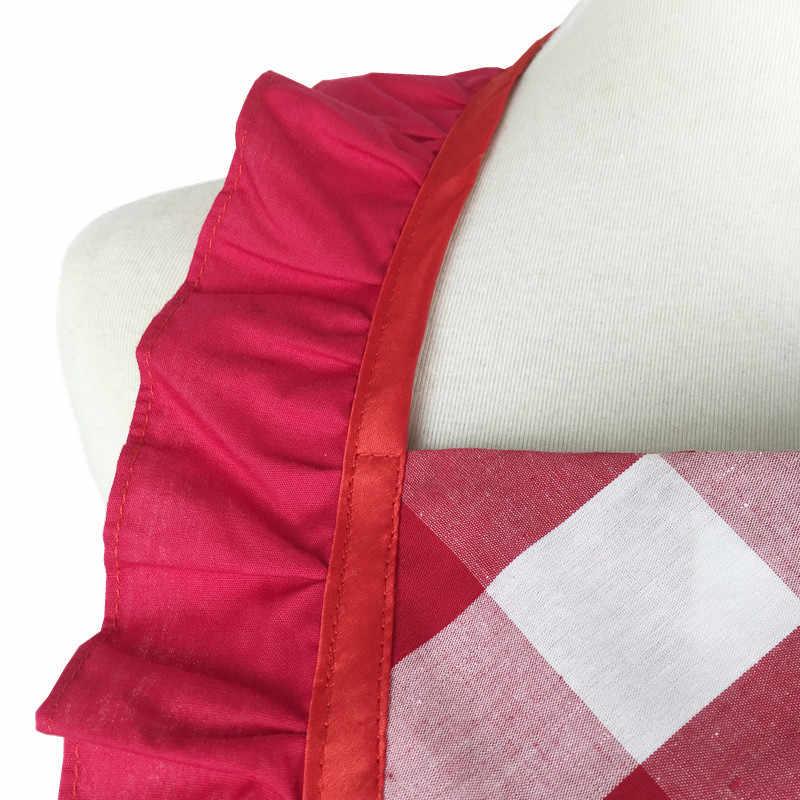 XiuMood mujer delantal de limpieza para el hogar fiesta de cocina Sexy encaje personalidad camarero trabajo babero rojo y blanco a cuadros algodón fino delantal