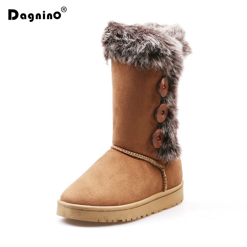Analytical 2018 Hot Sale Australia Cute Winter Shoes Women's Felt Hair Mid-calf Button Snow Boots With Faux Fur Boots For Woman Femininas Fashionable And Attractive Packages
