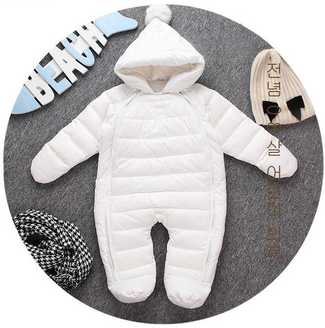 Newl baby girl boy infant outwear dress white duck down Rompers jumpsuit Fur Hooded Winter ski suit  clothes Toddler Snow sets