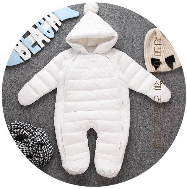Newl bebê menino menina infantil vestido outwear pato branco para baixo macacão macacão Com Capuz De Pele terno de esqui roupas de Inverno Criança Neve conjuntos